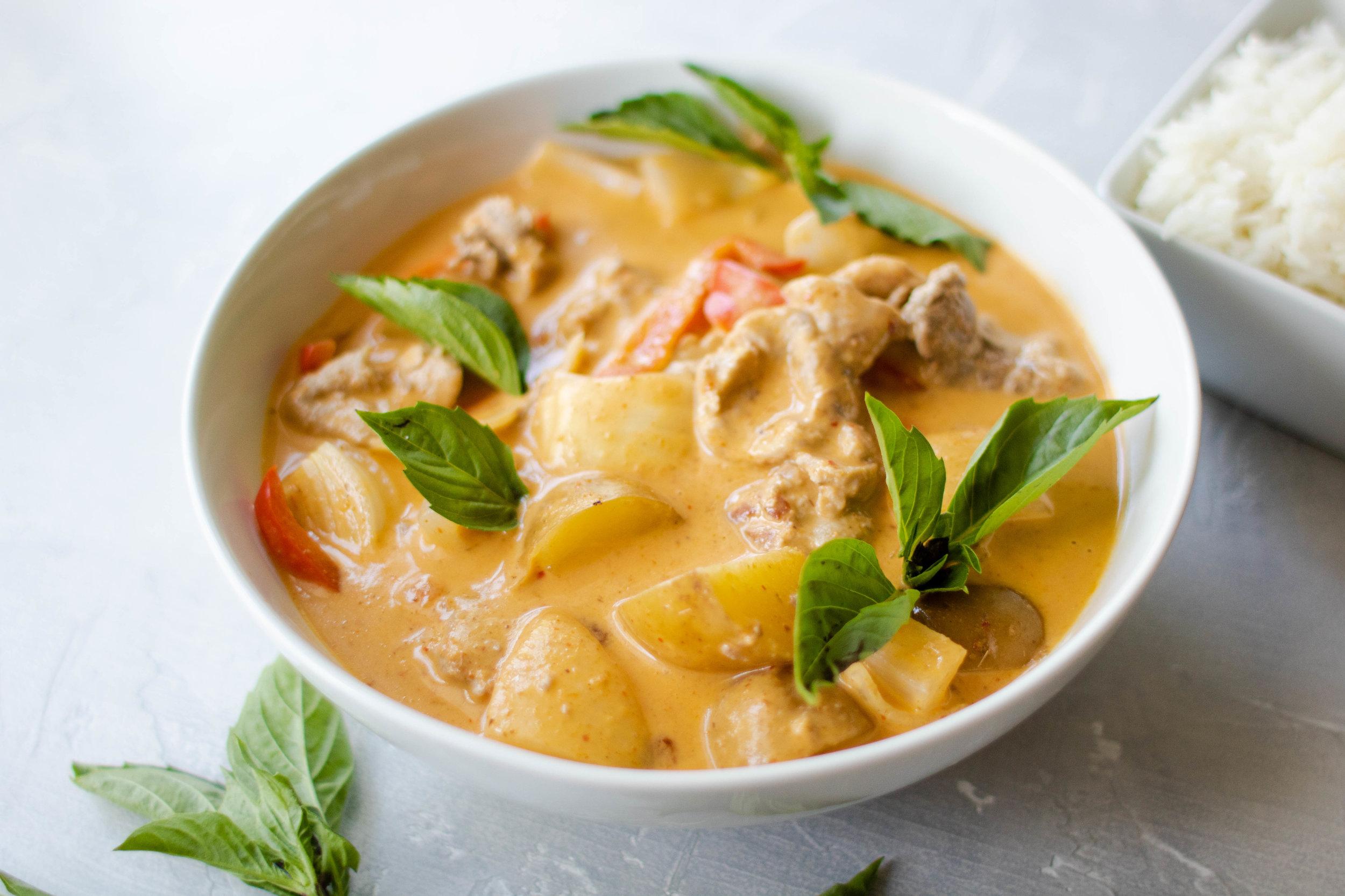 thai panang curry with pork