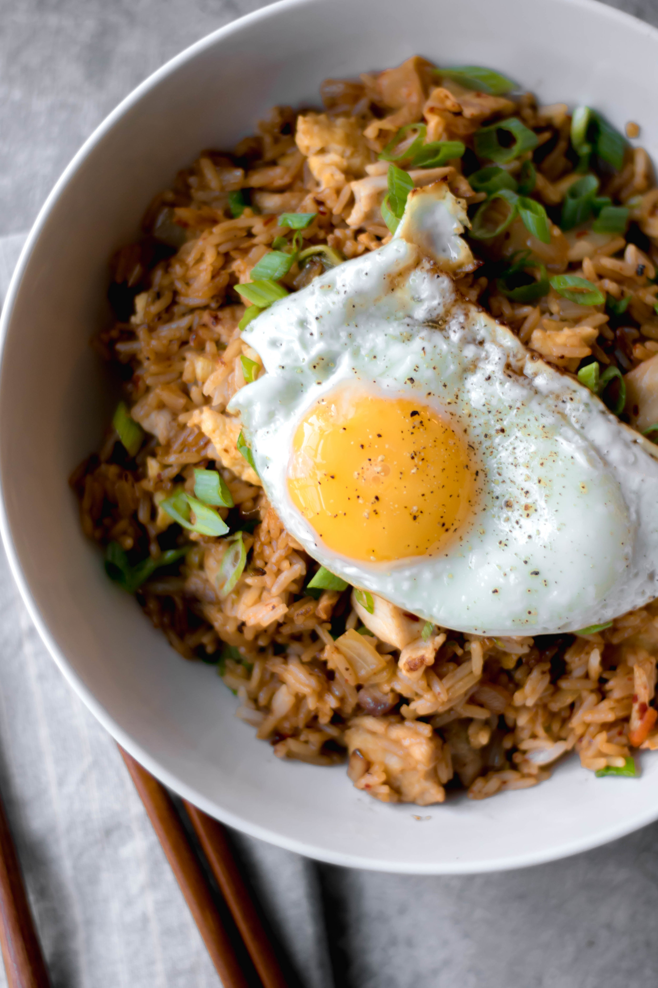 chicken and kimchi fried rice