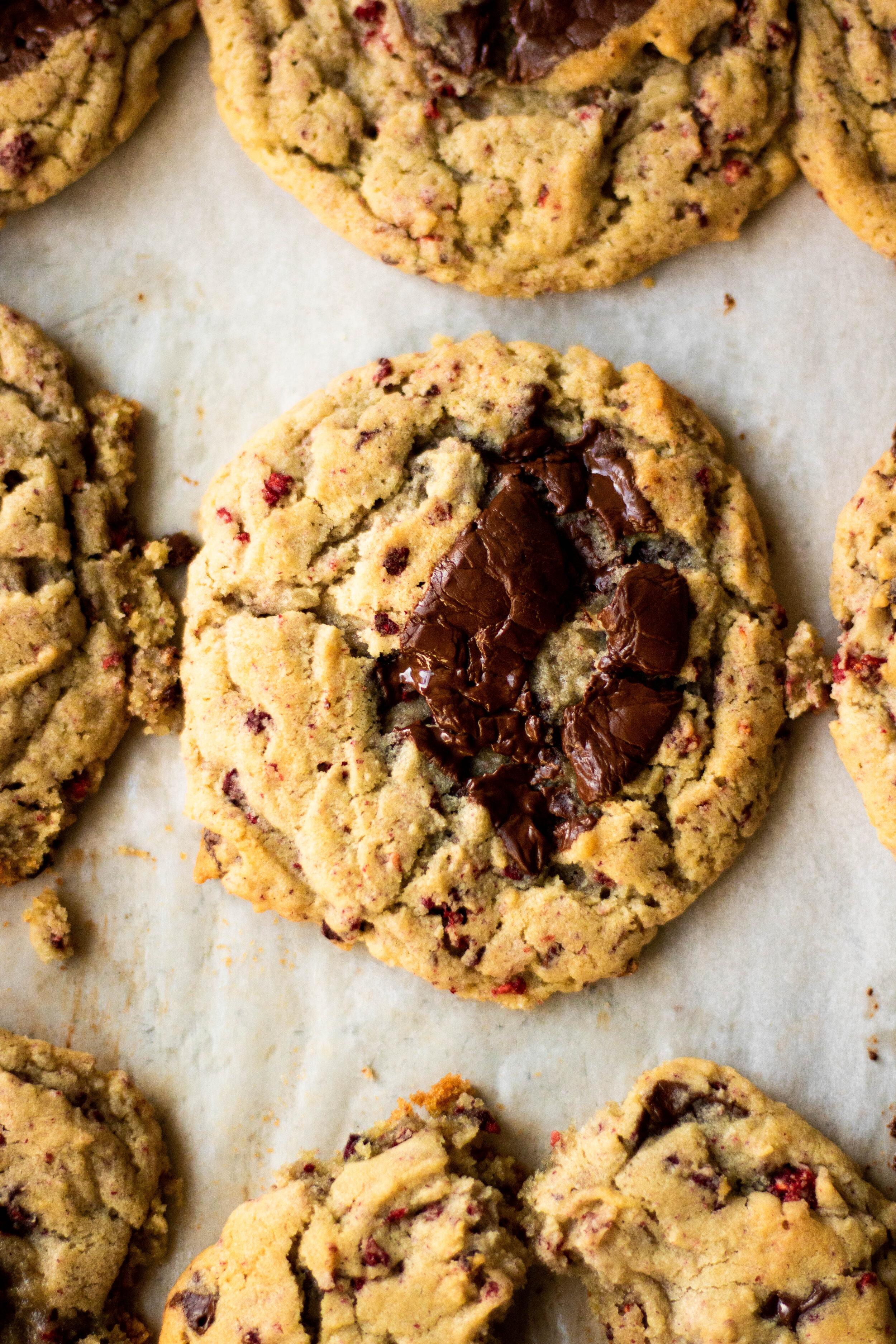 dark chocolate raspberry drop cookies