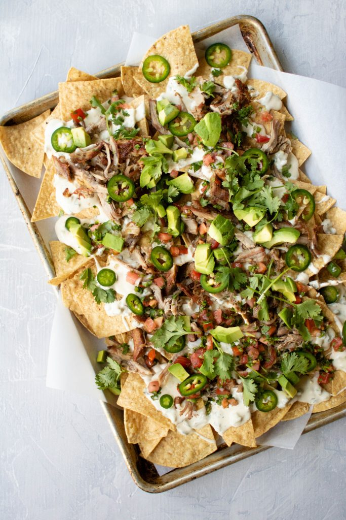 carnitas sheet tray nachos
