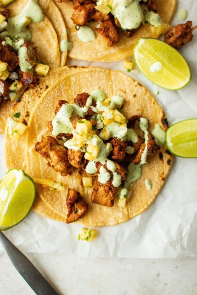 caramelized pork tacos