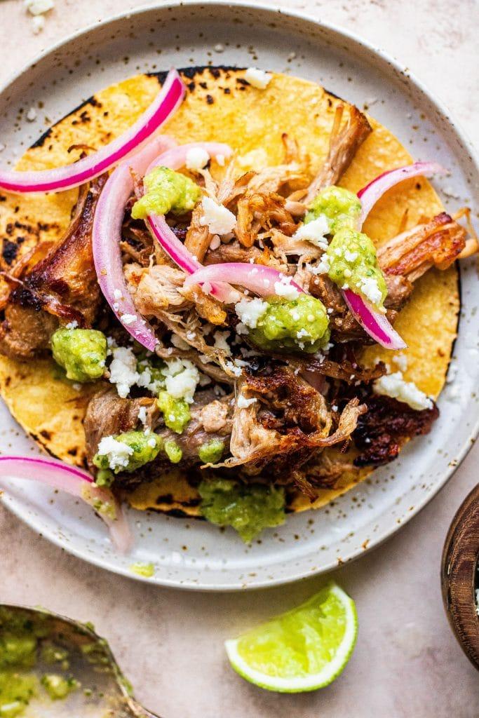 beer braised carnitas tacos